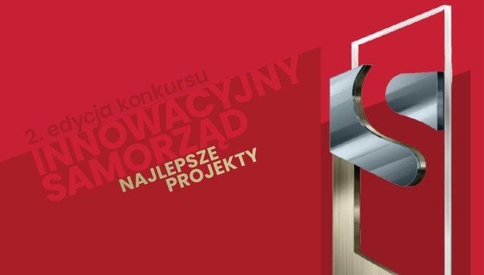 czerwone tło z napisem innowacyjny urząd najlepsze projekty