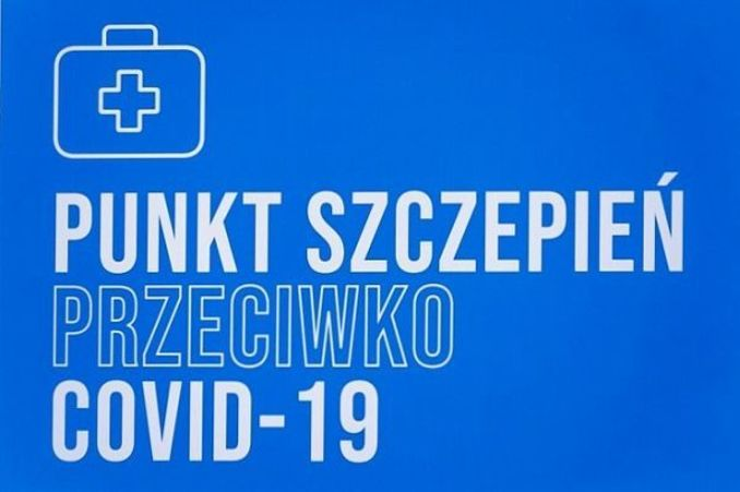 Ikona apteczki i napis PUNKTY SZCZEPIEŃ PRZECIWKO COVID-19