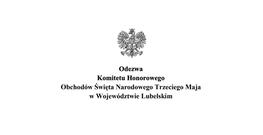 Orzeł  i napis Odezwa Komitetu Honorowego Obchodów Święta Narodowego Trzeciego Maja w Województwie Lubelskim