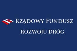 granatowe tło logo i biały napis  Rządowy Fundusz Rozwoju Dróg