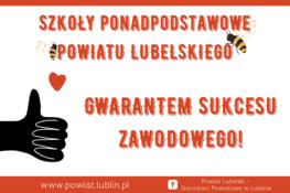 plakat napis czerwony szkoły podstawowe powiatu lubelskiego gwarantem sukcesu zawodowego