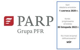 białe tło czerwone logo i napis PARP GRUPA PFR składanie wniosków od 10 czerwca koniec składania wniosków 30 listopada 2022