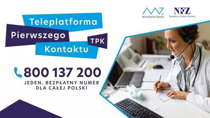 logo ministerstwa zdrowia i narodowego funduszu zdrowia, kobieta rozmawiająca przez słuchawkę, siedząca przy komputerze oraz napis teleplatforma pierwszego kontaktu oraz podany numer telefonu: 800 137 200 pod spodem napis: jeden bezpłatny numer dla całej Polski