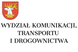 herb powiatu i napis wydział komunikacji, transportu i drogownictwa
