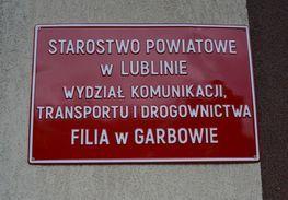 napis Starostwo Powiatowe w Lublinie Wydział Komunikacji, Transportu