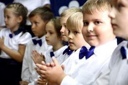 dzieci klasy pierwszej szkoły podstawowej w Leścach
