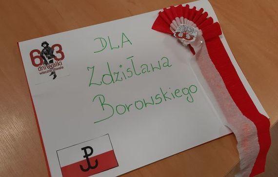 Kartka z napisem Dla Zdzisława Borowskiego