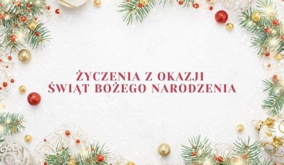 Grafika bożonarodzeniowa z napisem Życzenia z okazji  Świąt Bożego Narodzenia