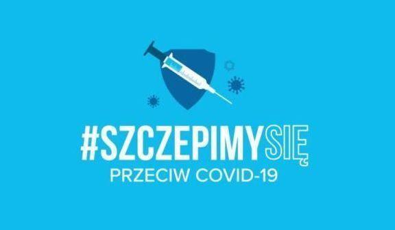 Ikona strzykawki, niebieskie tło, napis #szczepimy się przeciw covid-19