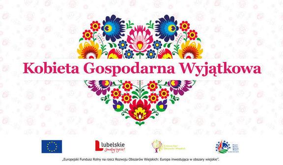Plakat Serce z kwiatów i napis Kobieta Gospodarna Wyjątkowa i logotypy dofinansowania