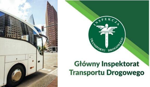 Zdjęcie autobus i logo Główny Inspektorat Transportu Drogowego
