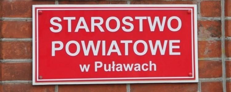 Informacja o pracy Urzędu oraz o przyjmowaniu opłat wynikających z działalności Starostwa Powiatowego w Puławach w dniu 23 kwietnia i 2 maja br.