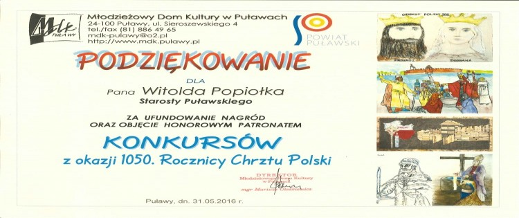Podziękowania dla Starosty Puławskiego oraz Kierownika Wydziału Promocji, Kultury, Sportu i Turystyki