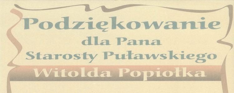 Podziękowanie dla Starosty Puławskiego od Dyrektora Gminnego Ośrodka Kultury w Puławach z siedzibą w Gołębiu