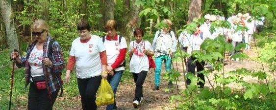 Studenci Puławskiego Uniwersytetu Trzeciego Wieku na szlaku V Marszu Nordic Walking Studentów UTW 2017