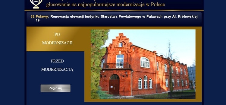 Modernizacja Roku 2016 - głosuj na budynek puławskiego Starostwa!