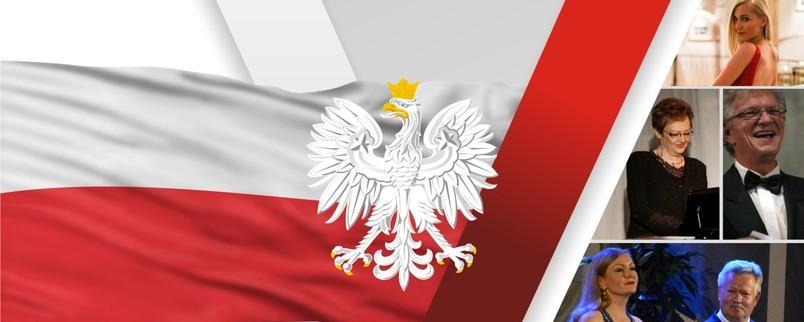 biało-czerwona flaga, orzeł w koronie, artyści
