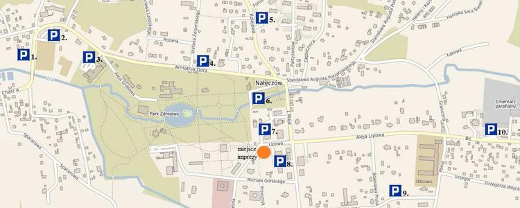 Wycinek mapki Nałęczowa z parkingami dożynkowymi