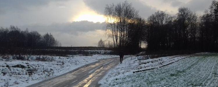 Biegacz, zima, biało
