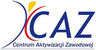 Logo Centrum Aktywizacji Zawodowej CAZ granatowe litery, symbol postaci - żółta głowa, granatowo-czerwona postać