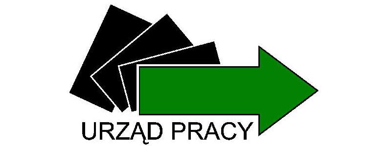 Logo Urzędu Pracy, zielona strzałka, trzy czarne prostokąty w tle