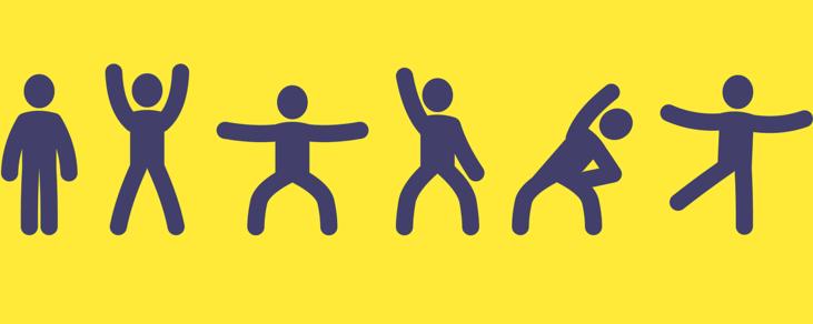 Ćwiczące postacie na żółtym tle