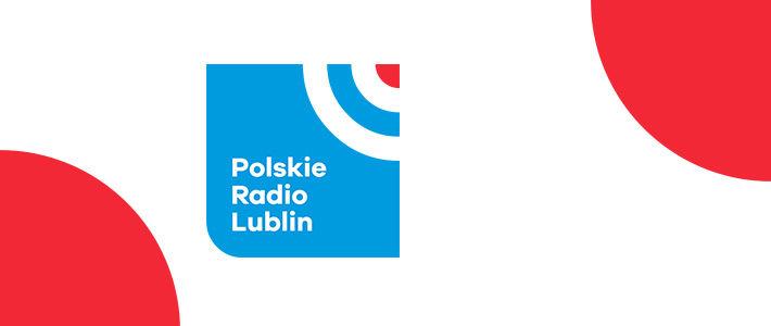 Logo Radia Lublin, czerwień, niebieski, białe napisy