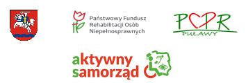 Herb Powiatu Puławskiego , Logo PCPR Puawy, Logo Państwowego Funduszu Rehabilitacji Osób  Niepełnosprawnych, Logo Aktywny Samorząd