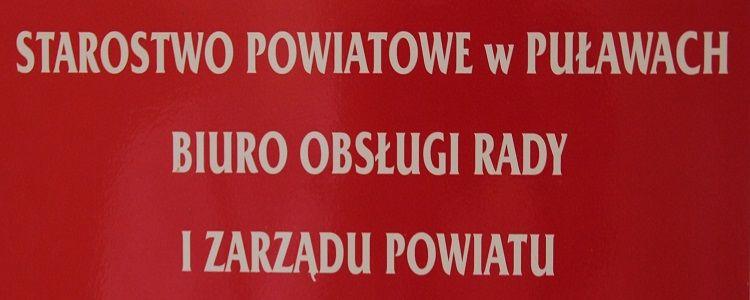 Starostwo Powiatowe w Puławach Biuro Obsługi Rady i Zarządu Powiatu