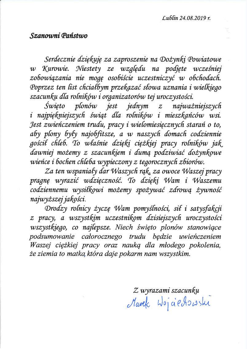 Dożynki Powiatu Puławskiego - Kurów 2019 - list gratulacyjny od Z-cy Dyrektora KOWR w Lublinie Marka Wojciechowskiego