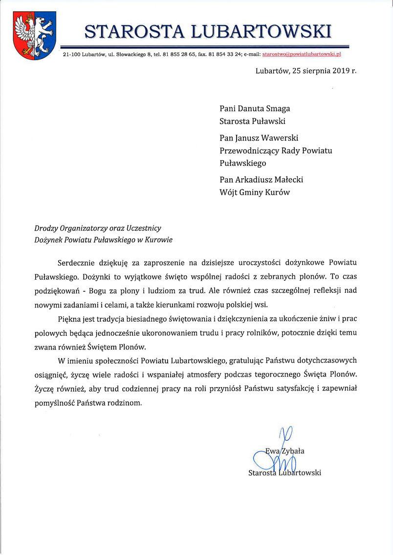 Dożynki Powiatu Puławskiego - Kurów 2019 - list gratulacyjny od Starosty Lubartowskiego Ewy Zybały