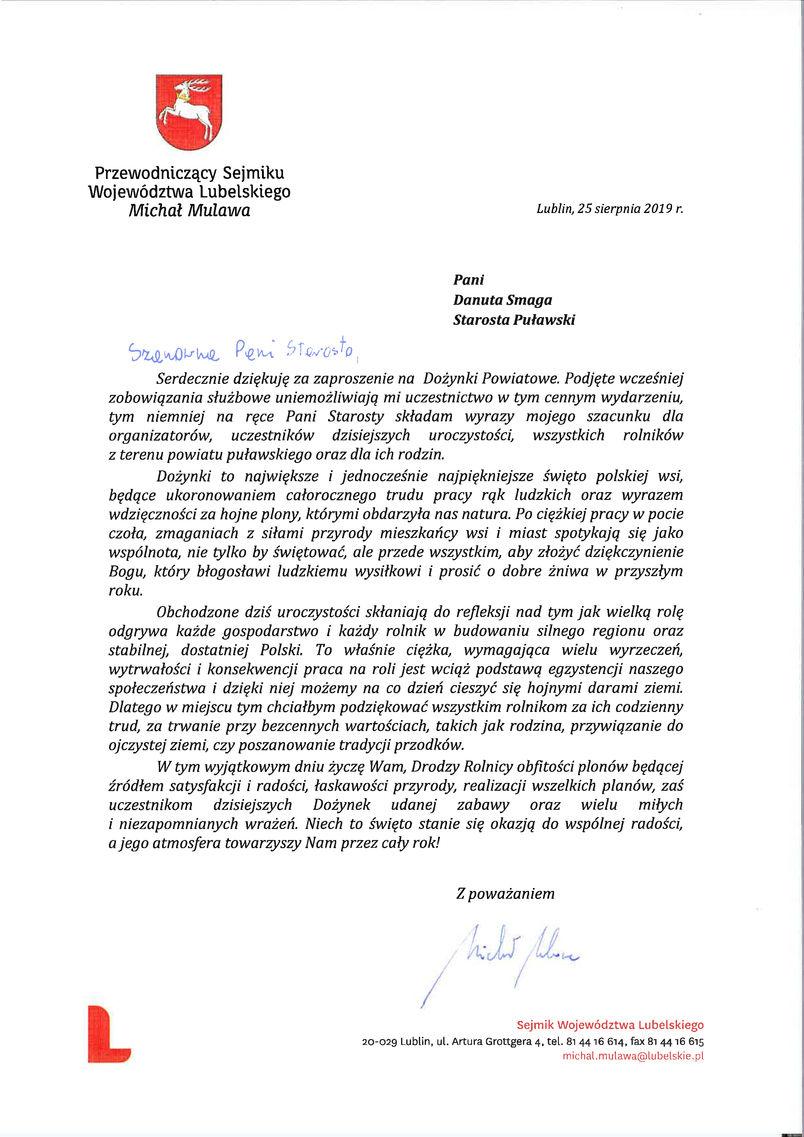 List gratulacyjny od Przewodniczącego Sejmiku Województwa Lubelskiego Michała Mulawy