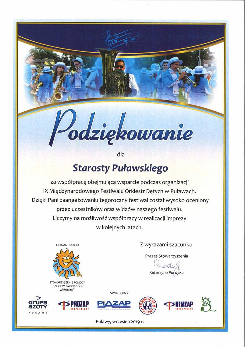 Podziękowanie dla Starosty Puławskiego za wsparcie organizacji Międzynarodowego Festiwalu Orkiestr Dętych w Puławach