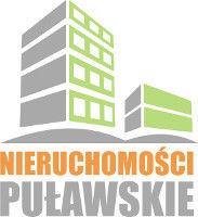 Nieruchomości puławskie logo - szaro-zielone budynki