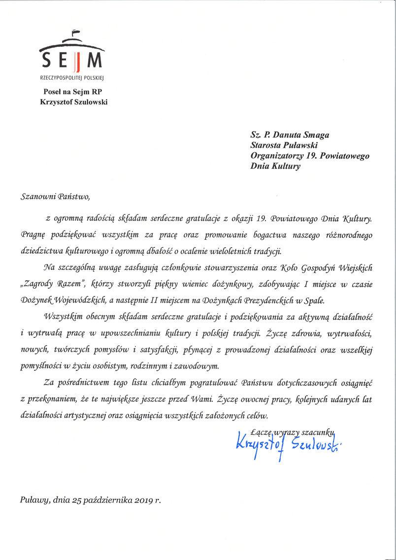 19. Powiatowy Dzień Kultury - list gratulacyjny od Posła na Sejm RP prof. Krzysztofa Szulowskiego