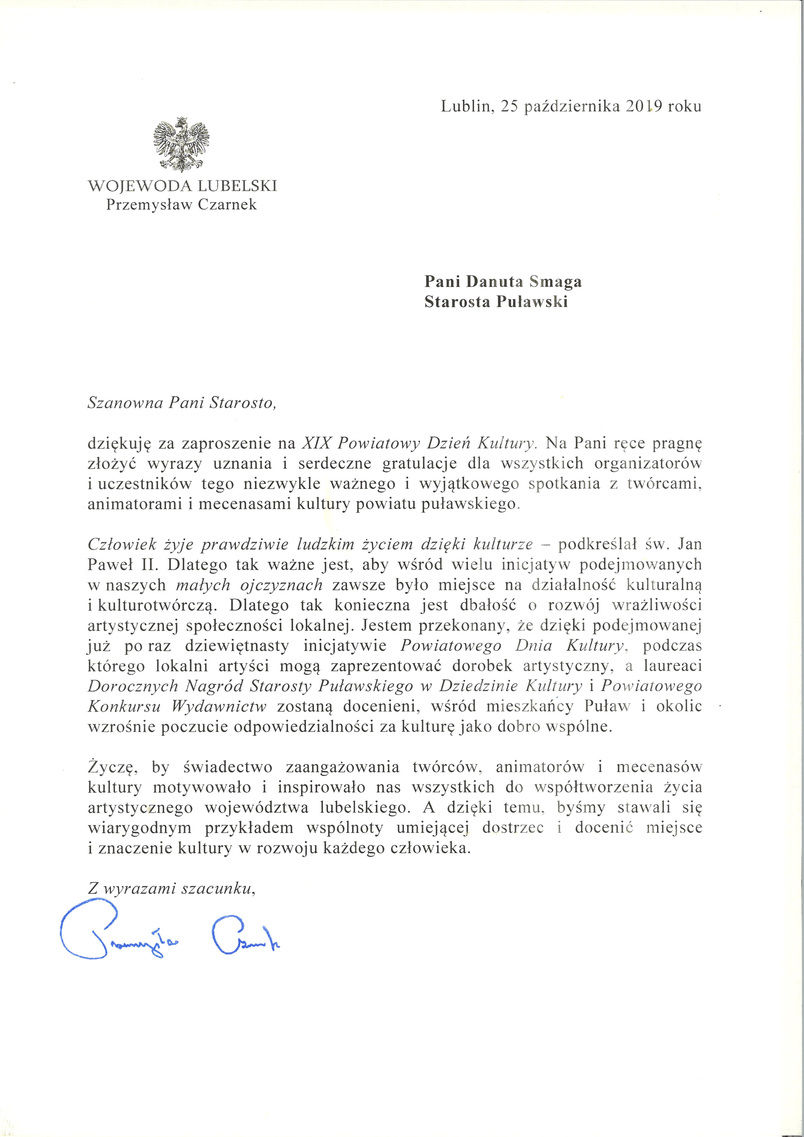19. Powiatowy Dzień Kultury - list gratulacyjny od Wojewody Lubelskiego Przemysława Czarnka