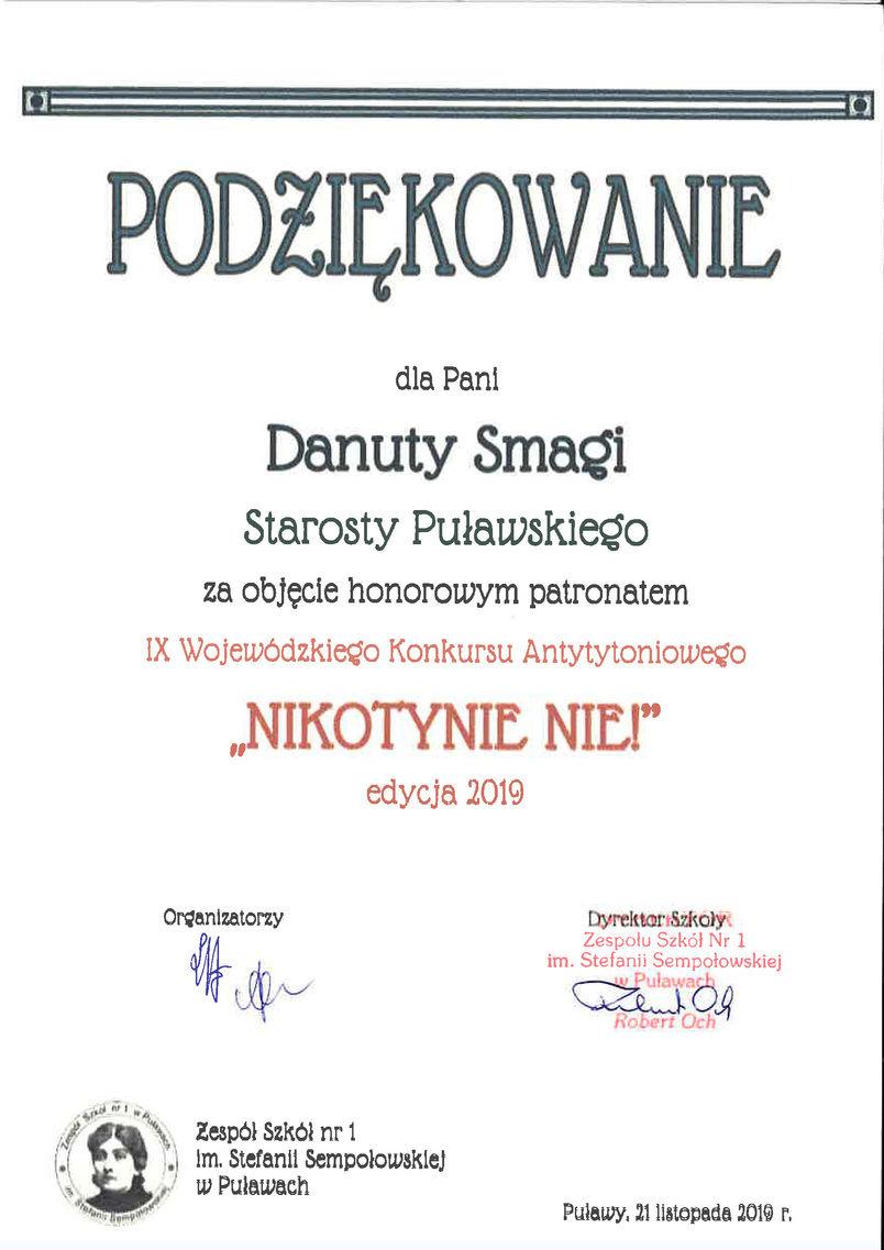 """Podziękowanie dla Starosty Puławskiego za objęcie honorowym patronatem IX Wojewódzkiego Konkursu Antytytoniowego """"NIKOTYNIE NIE!"""""""
