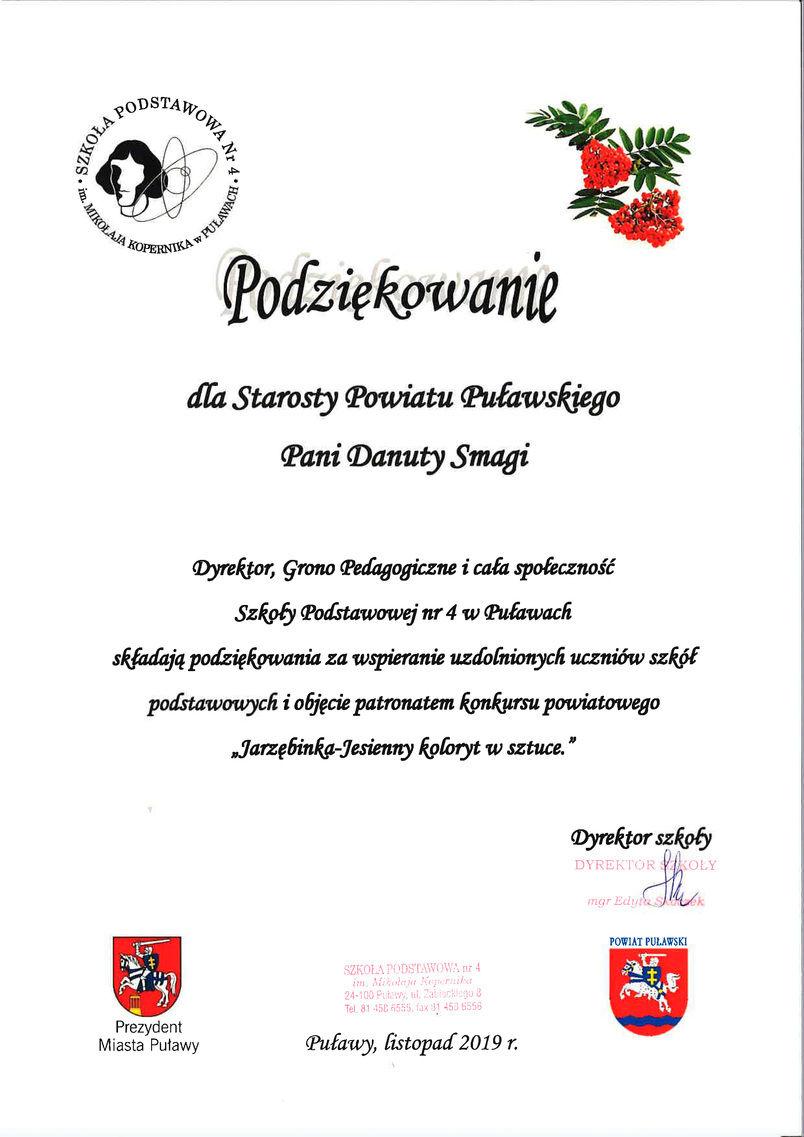 """Podziękowanie dla Starosty Puławskiego za objęcie honorowym patronatem konkursu """"Jarzębinka - Jesienny koloryt w sztuce"""""""