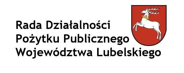 Napis Rada Działalności Pożytku Publicznego Województwa Lubelskiego oraz wizerunek herbu województwa lubelskiego