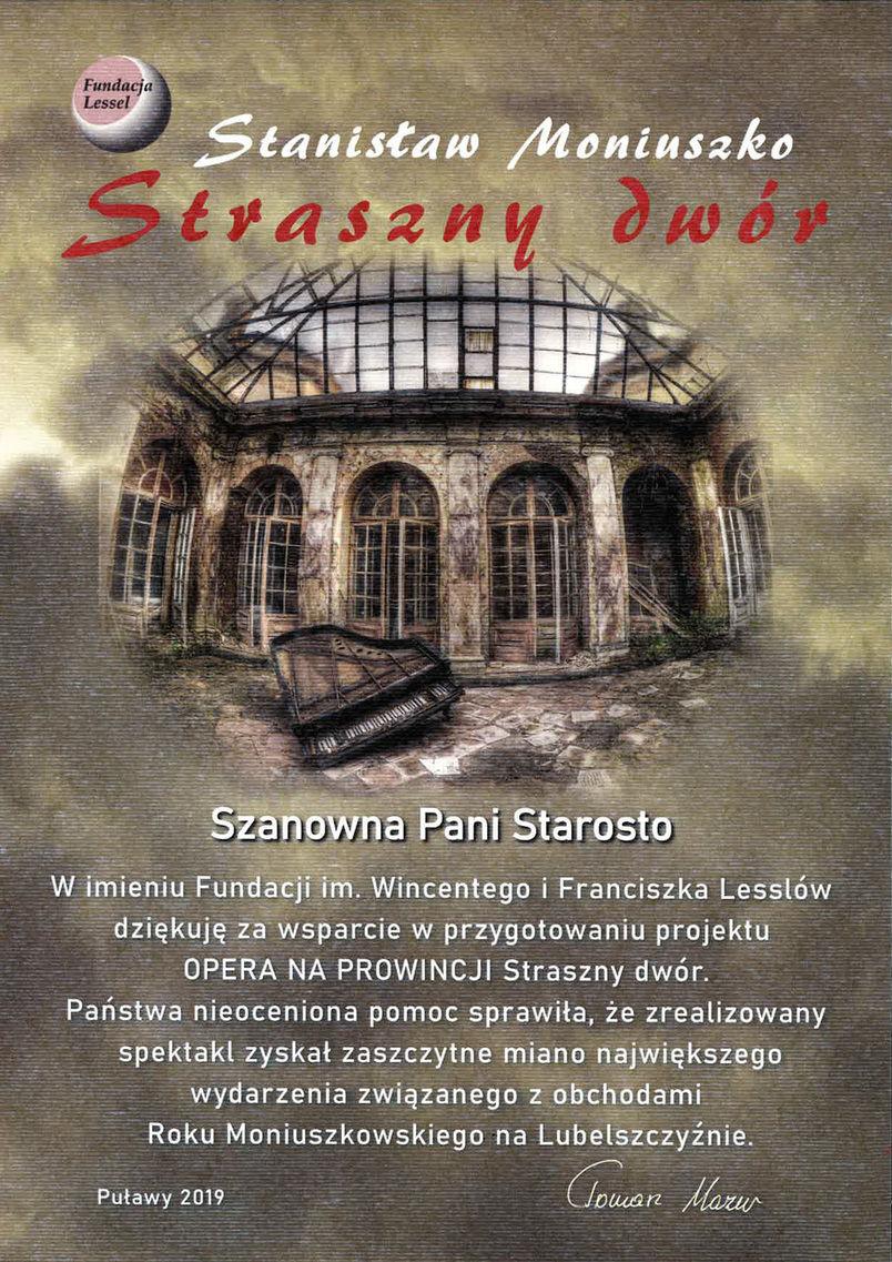 """Podziękowanie dla Starosty Puławskiego za wsparcie realizacji projektu """"Opera na prowincji. Straszny Dwór"""""""