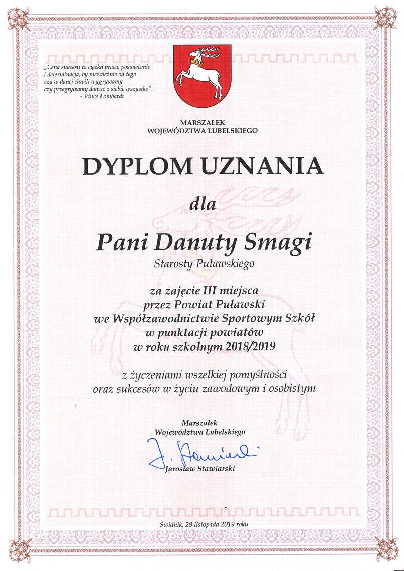 Dyplom uznania za zajęcie 3. miejsca przez powiat puławski w Wojewódzkim Współzawodnictwie Sportowym Szkół za rok szkolny 2018/19
