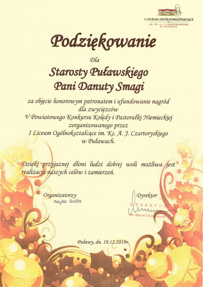Podziękowanie dla starosty Danuty Smagi za patronat honorowy i wsparcie organizacji V Powiatowego Konkursu Kolędy i Pastorałki Niemieckiej