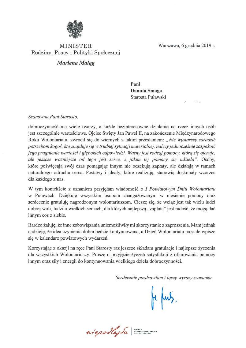 I Powiatowy Dzień Wolontariatu - list gratulacyjny od Ministra Rodziny, Pracy i Polityki Społecznej