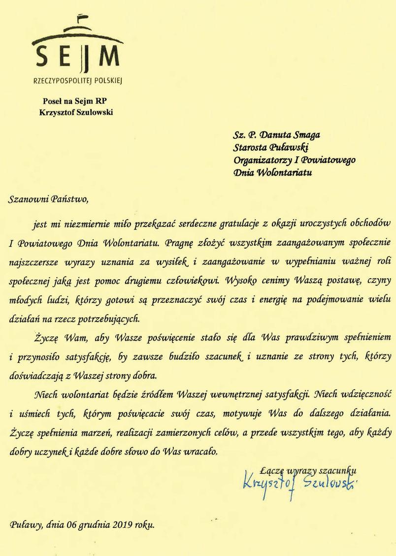 I Powiatowy Dzień Wolontariatu - list gratulacyjny od Posła na Sejm RP Krzysztofa Szulowskiego