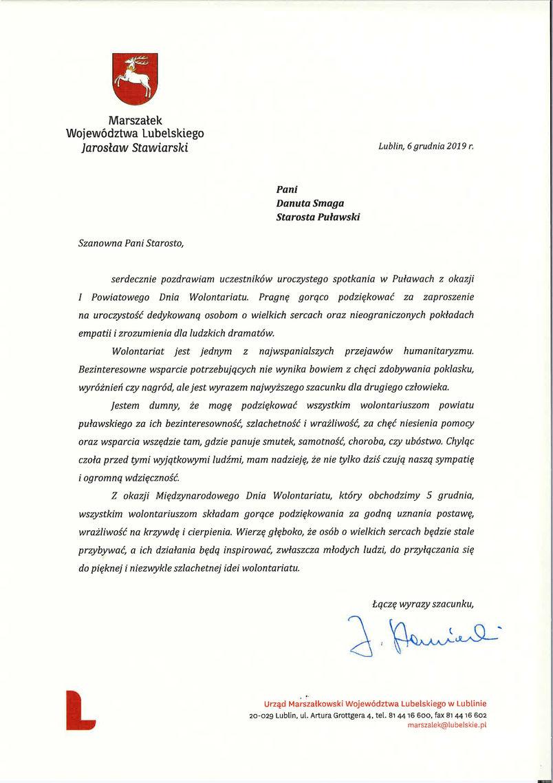 I Powiatowy Dzień Wolontariatu - list gratulacyjny od Marszałka Województwa Lubelskiego
