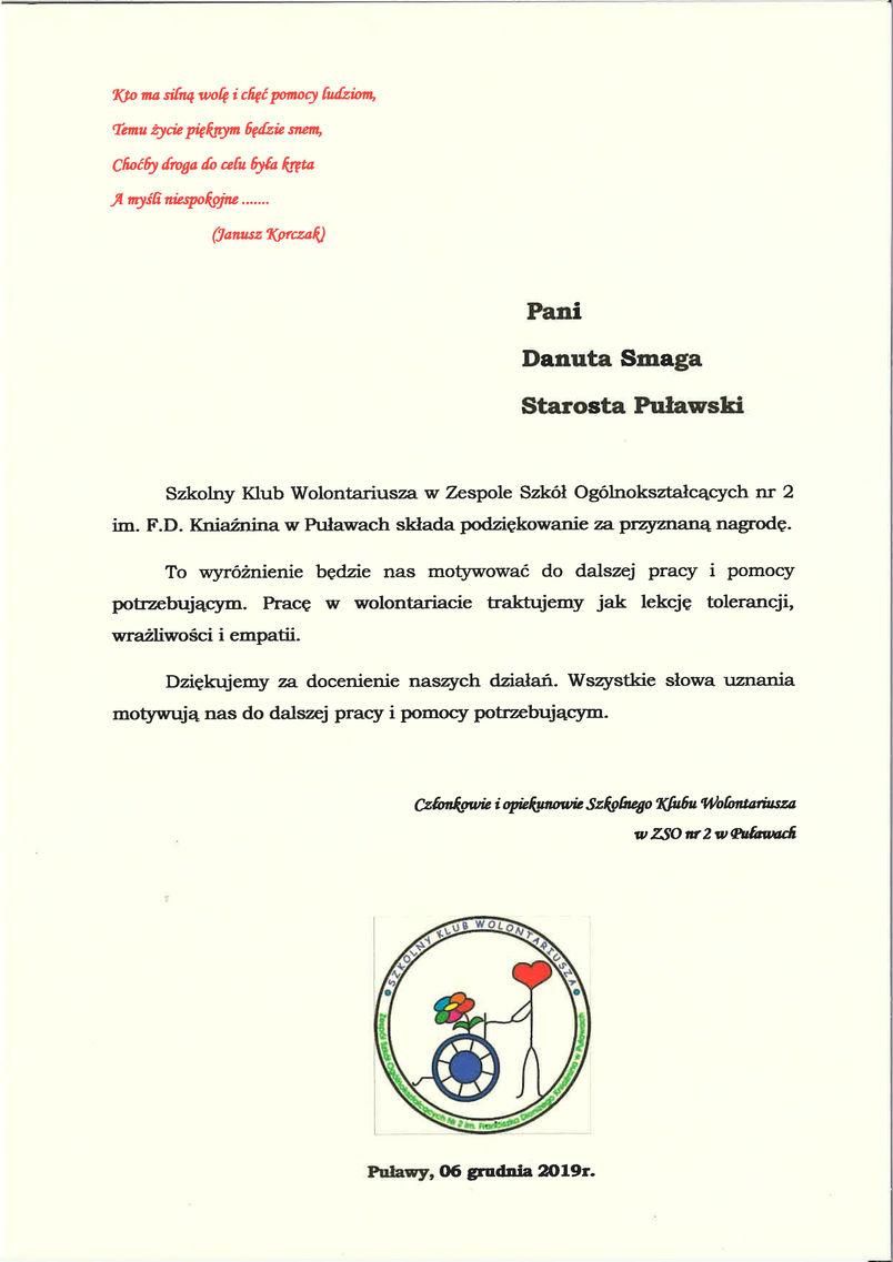 I Powiatowy Dzień Wolontariatu - podziękowanie od Szkolnego Klubu Wolontariusza przy ZSO nr 2 w Puławach
