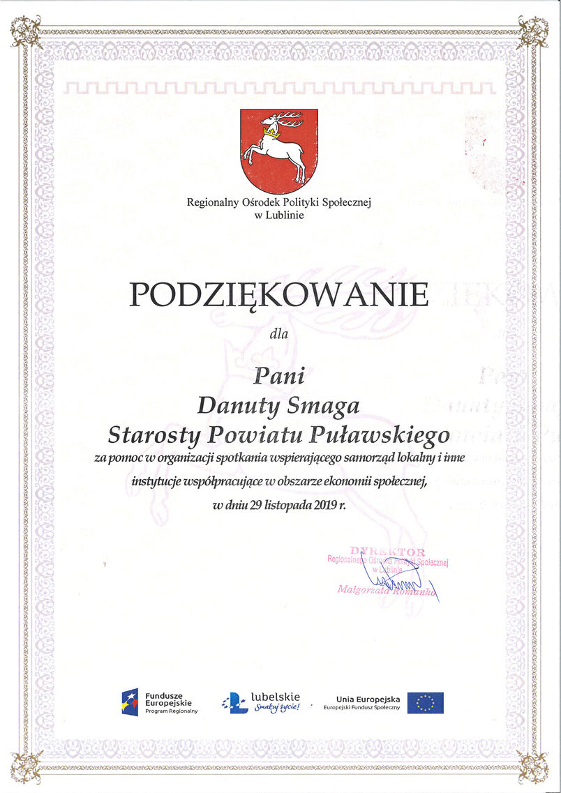 Podziękowanie dla starosty Danuty Smagi za pomoc w organizacji spotkania dot. ekonomii społecznej