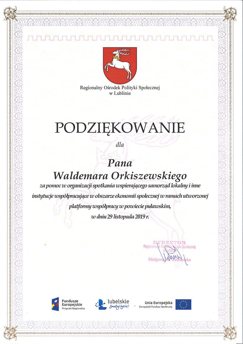 Podziękowanie dla sekretarza powiatu Waldemara Orkiszewskiego zapomoc w organizacji spotkania dot. ekonomii społecznej