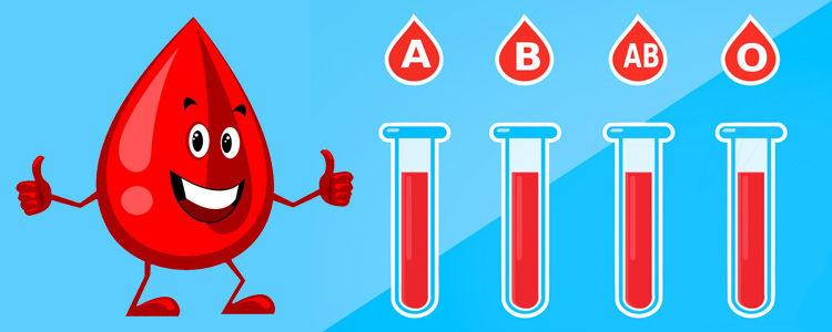 Kropla krwi, próbówki z oznaczeniami grup krwi.