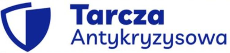 Tarcza antykryzysowa - logo, niebieski napis